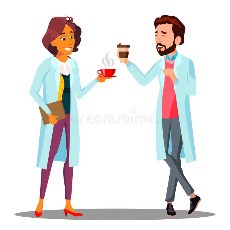 Doktor Man, kvinna som rymmer ett exponeringsglas av kaffe i handen, vektor för kaffeavbrott Isolerad tecknad filmillustration stock illustrationer