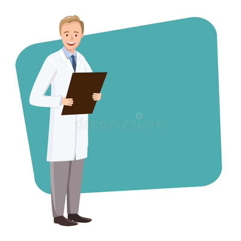 Doktor med en mapp i hand på en grön rektangel royaltyfri illustrationer