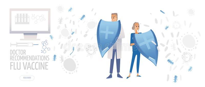 Doktor med injektionssprutan och minnestavlor Medicin plan begreppsillustration för sjukvård Tecknad filmläkaren skyddar tålmodig royaltyfri fotografi