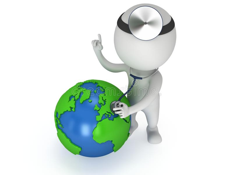 Doktor med jordjordklotet Begrepp för dag för världshälsa vektor illustrationer