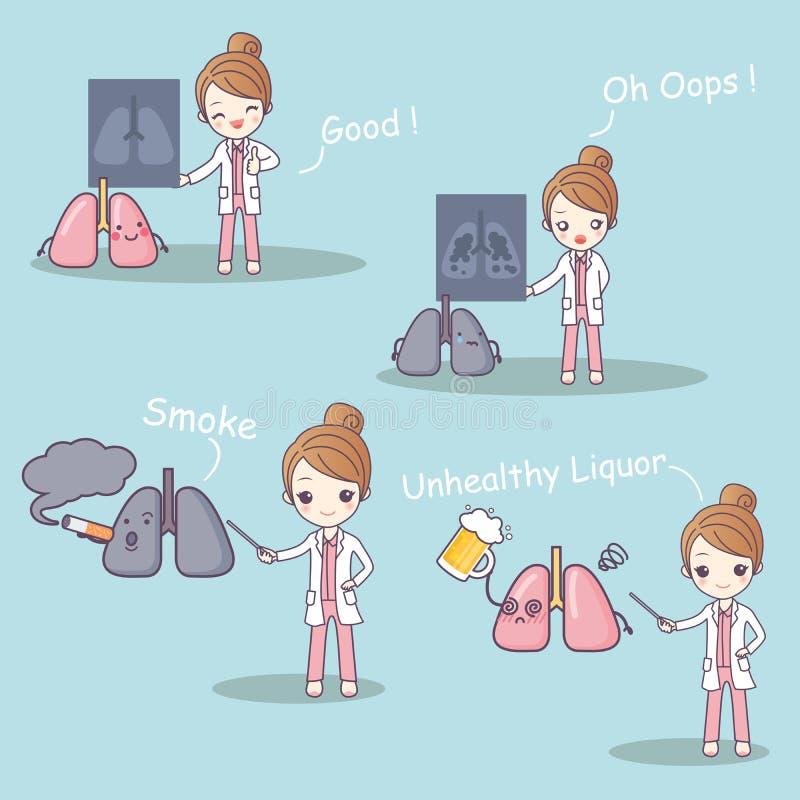 Doktor med lungaproblem vektor illustrationer