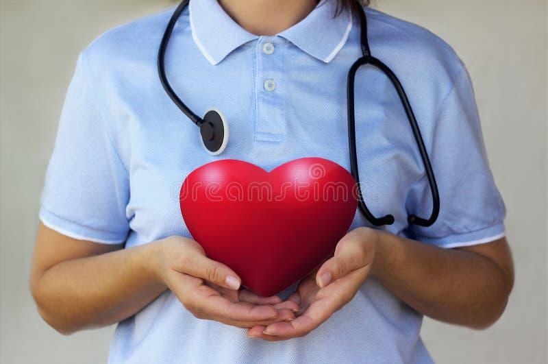 Doktor med stetoskopet som rymmer en röd hjärta i handcloseupen arkivfoton