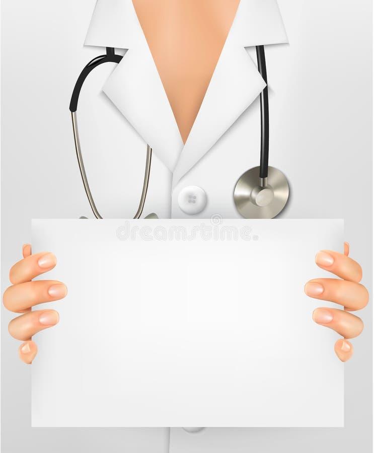 Doktor med stetoskopinnehavmellanrumet royaltyfri illustrationer