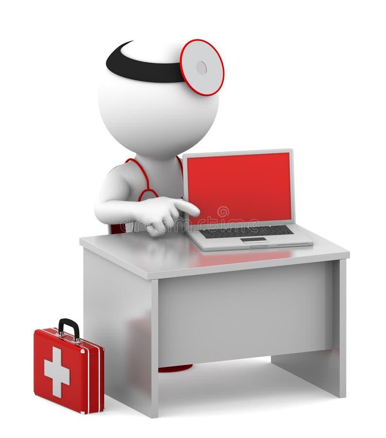 Doktor mit dem Laptop, der in seinem Büro sitzt stock abbildung