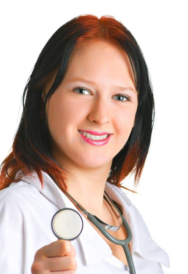 Doktor mit einem glücklichen Lächeln lizenzfreies stockfoto