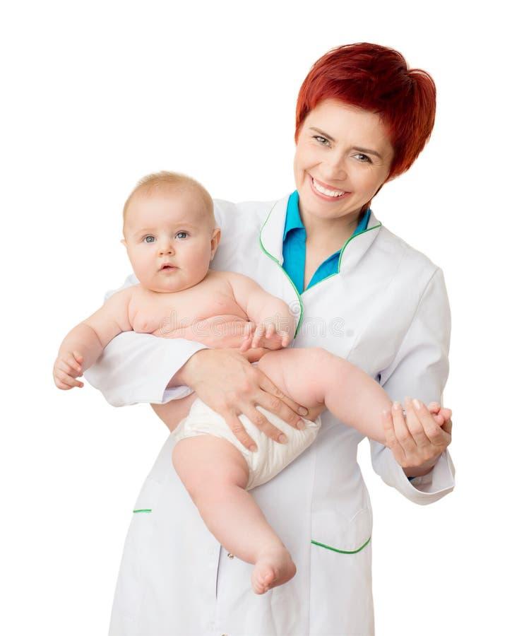 Doktor mit nettem Baby lizenzfreie stockfotografie
