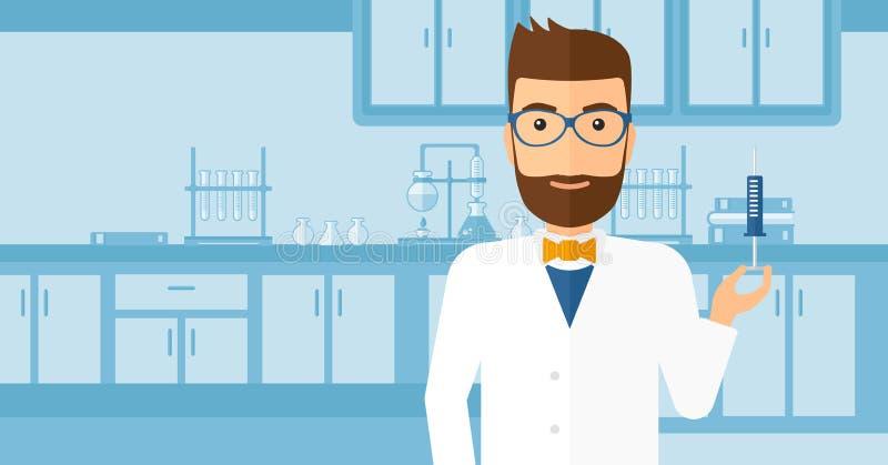 Doktor mit Spritze im Labor lizenzfreie abbildung