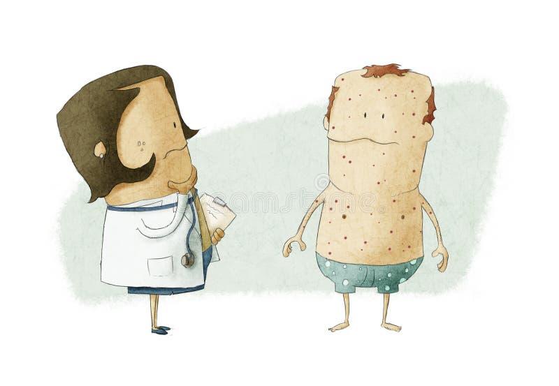 Doktor och patient stock illustrationer