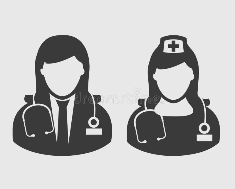Doktor och sjuksköterska Icon stock illustrationer