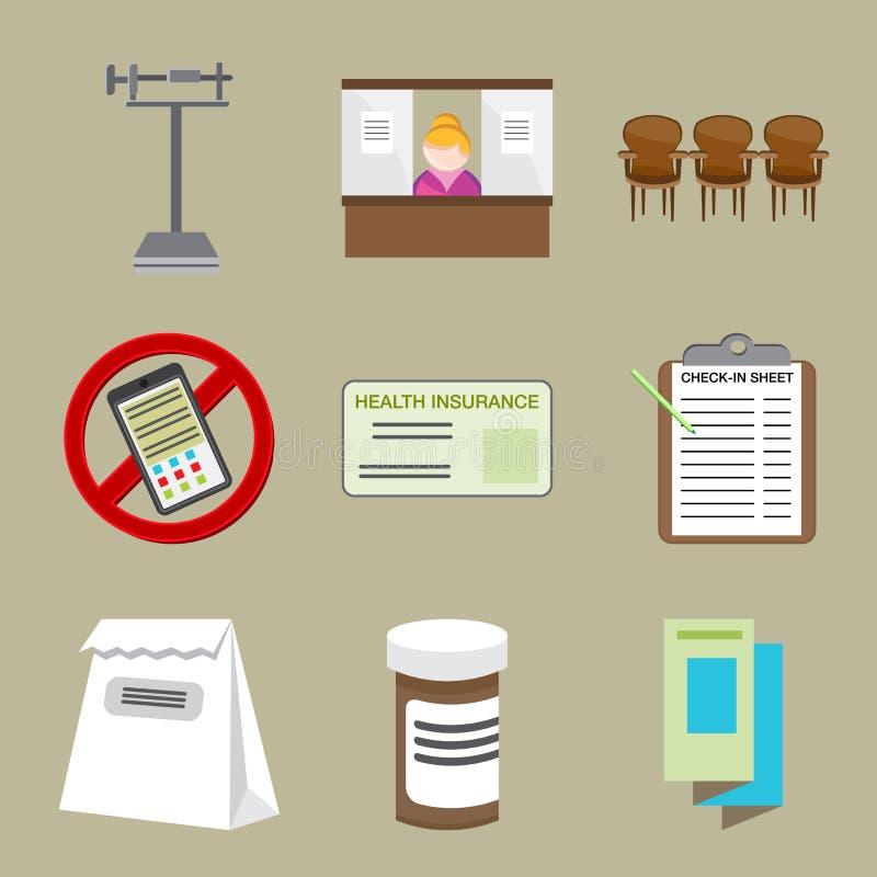 Doktor Office Icons stock abbildung