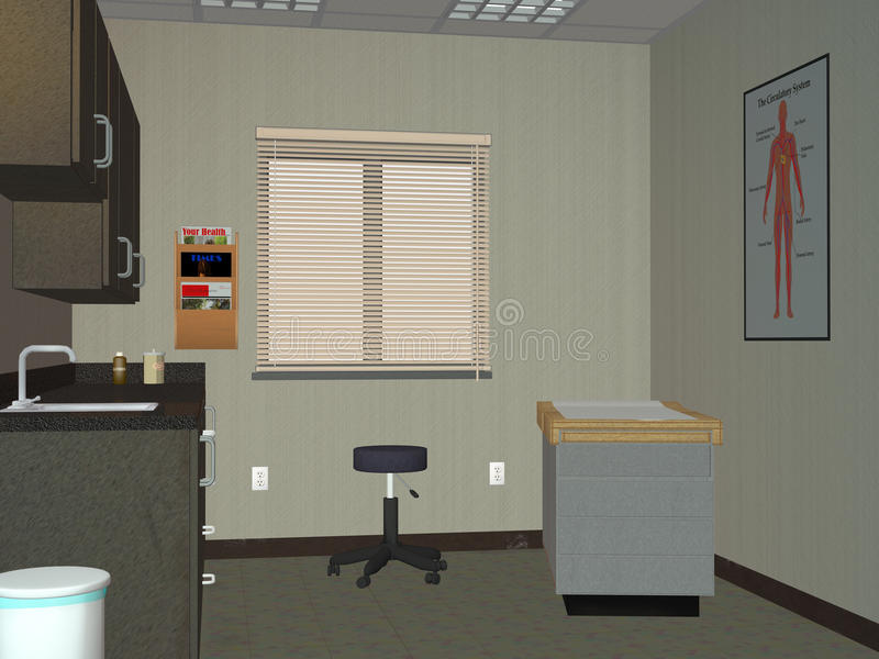 Doktor Office, rumillustration för medicinsk examen stock illustrationer