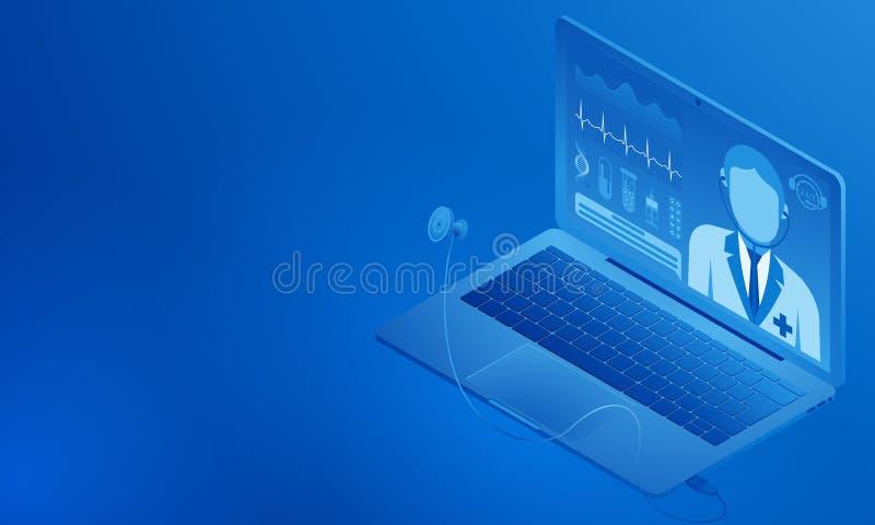 Doktor online Medizinische Beratung auf dem Bildschirm Gesundheits-Check mit einem Stethoskop Tests, Kardiogramm lizenzfreie abbildung