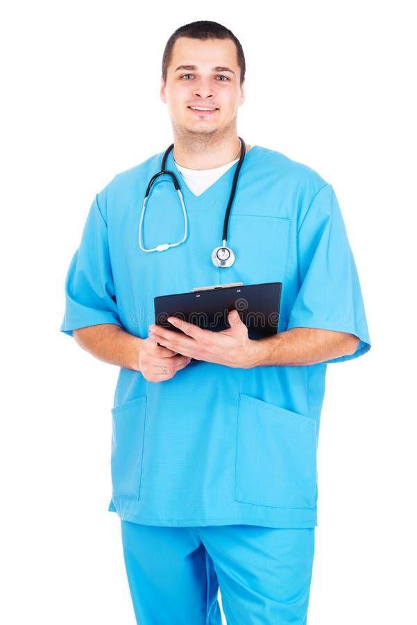 Doktor på vit bakgrund royaltyfria bilder