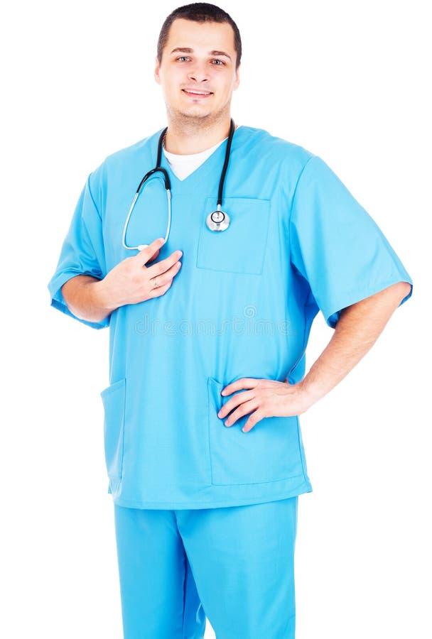 Doktor på vit bakgrund arkivbild