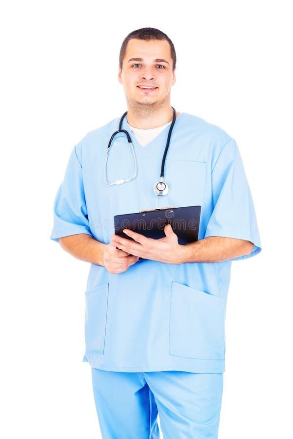 Doktor på vit bakgrund royaltyfri fotografi