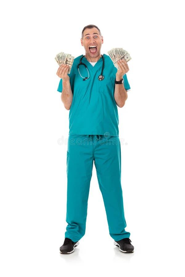 Doktor: Rich Doctor Waving Cash Money omkring arkivbild
