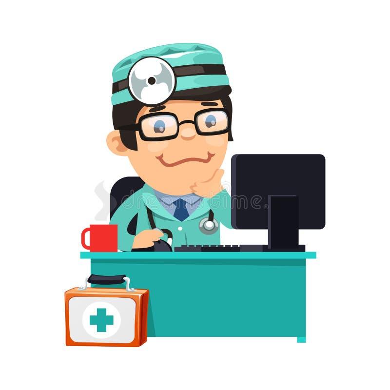 Doktor an seinem Schreibtisch lizenzfreie abbildung