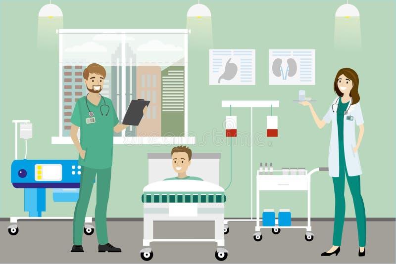 Doktor, sjuksköterska och caucasian manlig patient i sjukhusrummet royaltyfri illustrationer