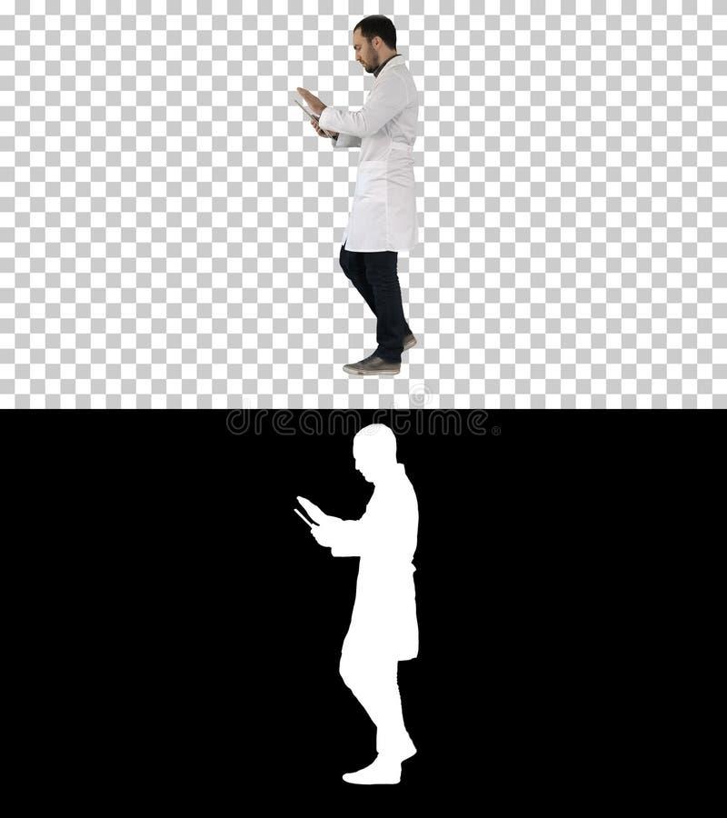 Doktor som anv?nder fliken, medan g?, Alpha Channel arkivfoto