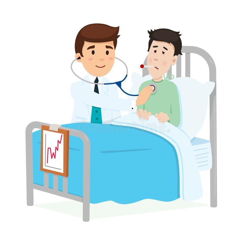 Doktor som att bry sig för en patient vektor illustrationer