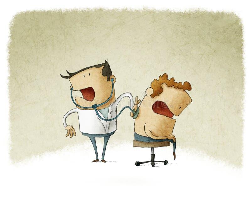 Doktor som auscultating en patient stock illustrationer