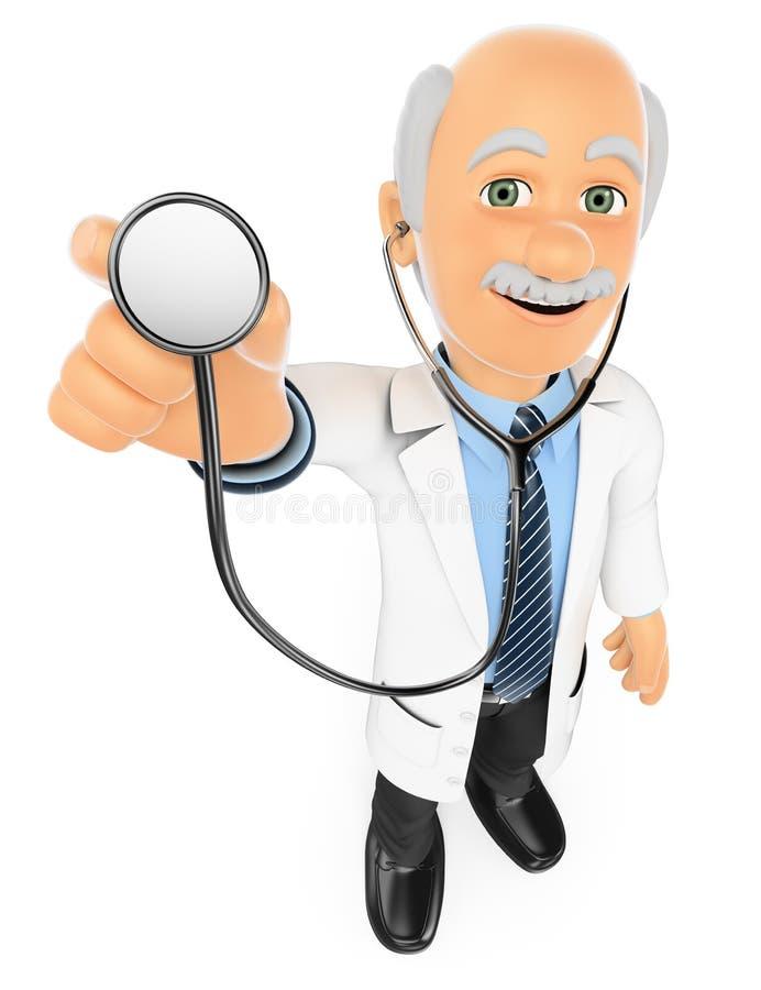doktor som 3D lyssnar med en stetoskop stock illustrationer