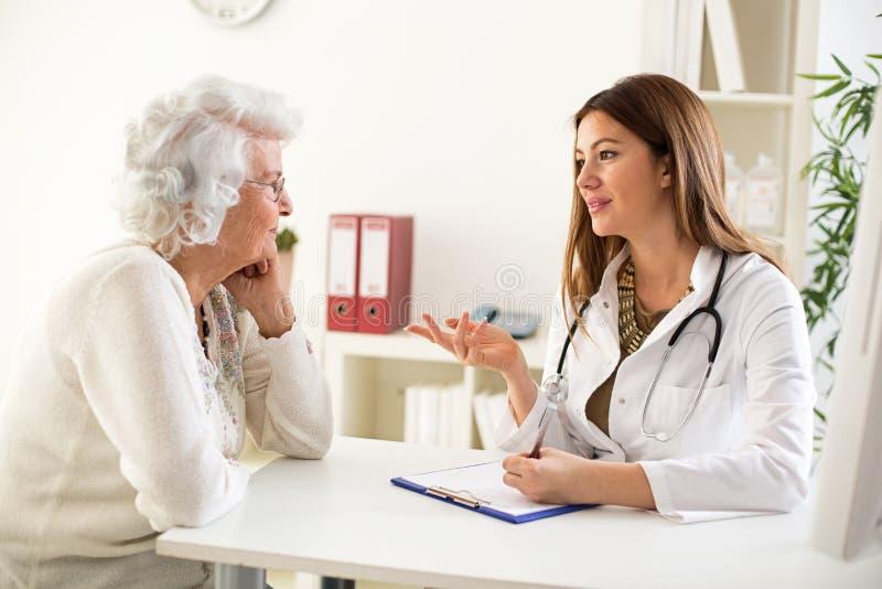 Doktor som förklarar diagnos till hans kvinnliga patient royaltyfri foto