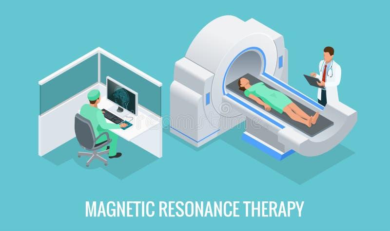 Doktor som framme ser resultat av den tålmodiga hjärnbildläsningen på bildskärmskärmarna av MRI-maskinen med mannen som ner ligge royaltyfri illustrationer