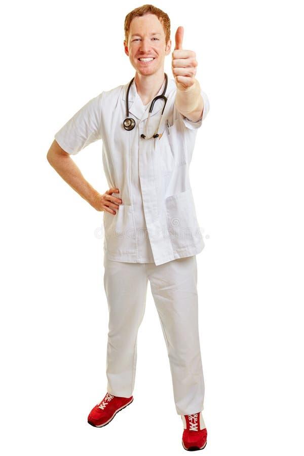 Doktor som hållande tummar för en vinnare upp royaltyfria bilder