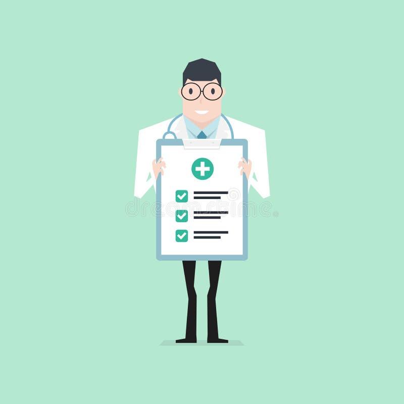 Doktor som rymmer en skrivplattakontroll upp papper kontrollera upp h?lsa royaltyfri illustrationer