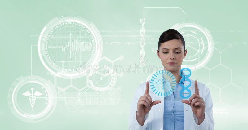 Doktor som ser hennes futuristiska känsel- skärm royaltyfri foto