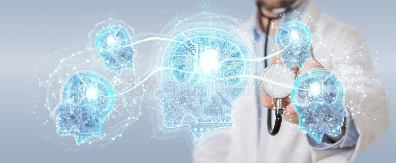 Doktor som skapar tolkningen för manöverenhet 3D för konstgjord intelligens stock illustrationer