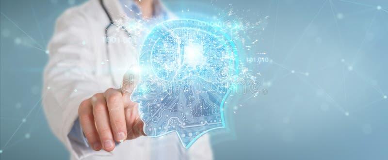 Doktor som skapar tolkningen för manöverenhet 3D för konstgjord intelligens royaltyfri illustrationer