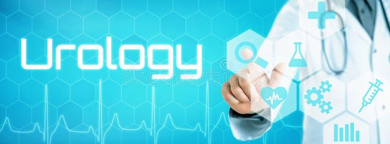 Doktor som trycker på en symbol på en futuristisk manöverenhet - Urology royaltyfri bild