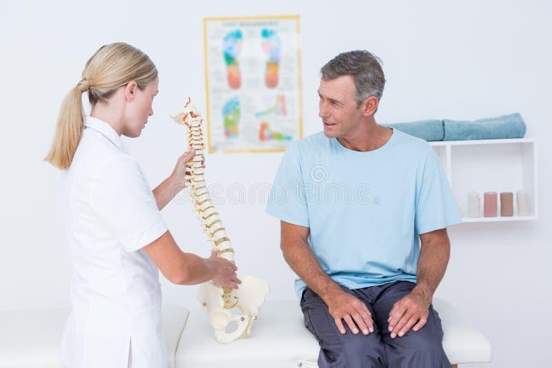 Doktor som visar den anatomiska ryggen till hennes patient royaltyfria bilder