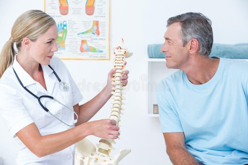 Doktor som visar hennes patient en inbindningsmodell fotografering för bildbyråer