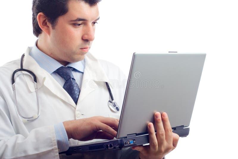 doktor szpitala działanie laptopa zdjęcia stock