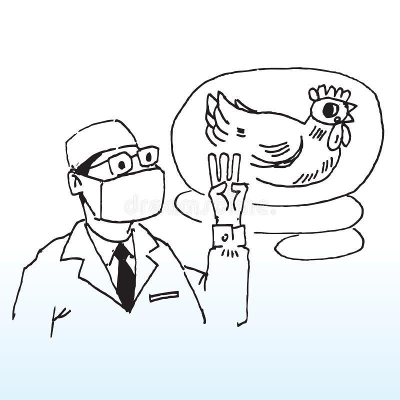 Doktor und Huhn vektor abbildung