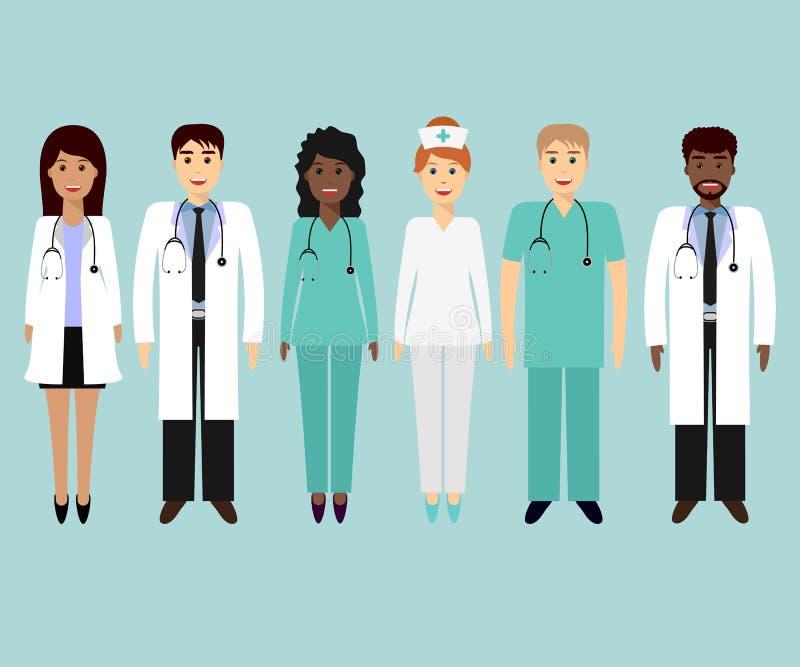 Doktor und Krankenschwester, die x-Strahl betrachten stock abbildung
