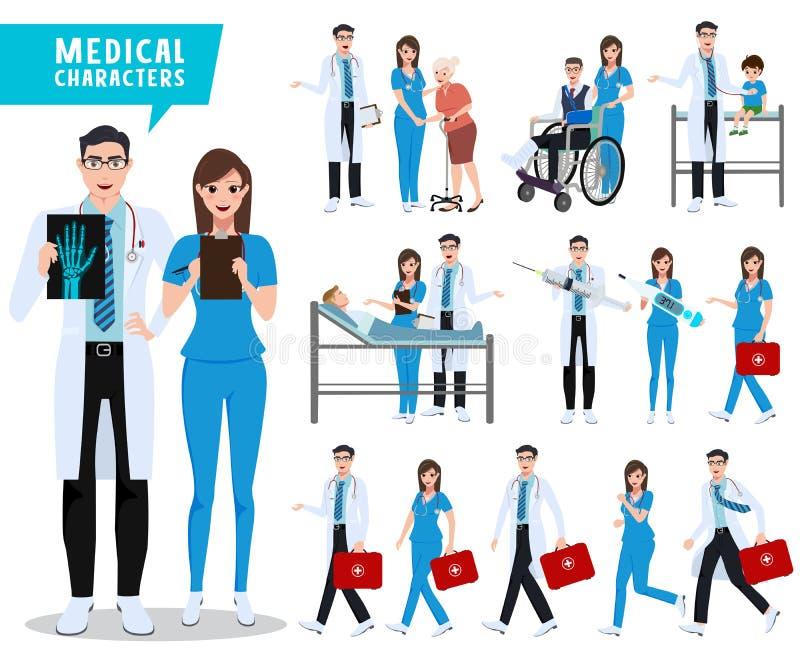 Doktor- und Krankenschwestervektorzeichensatz Gesundheitswesen und medizinische Arbeitskräfte mit Patienten lizenzfreie abbildung