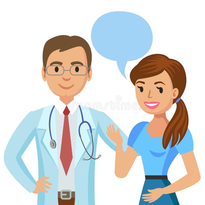 Doktor und Patient Frau, die mit Arzt spricht Vektor stock abbildung