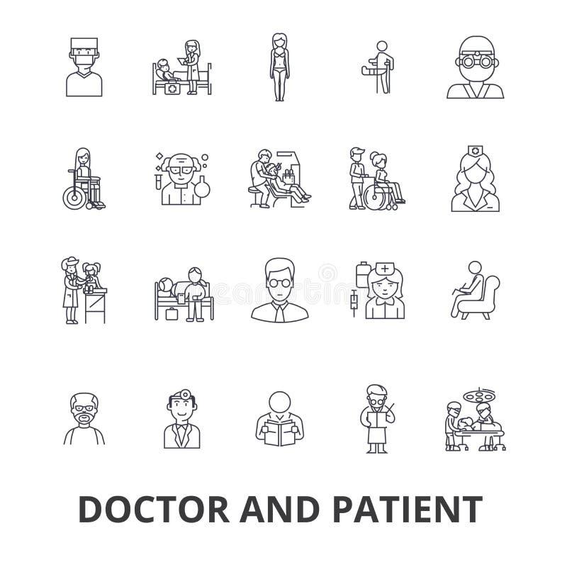 Doktor und Patient, Kabinett, medizinisch, Krankenhaus, Beratung, Krankenschwester, Gesundheitswesenlinie Ikonen Editable Anschlä stock abbildung
