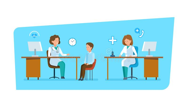Doktor verständigt sich mit Patienten, Arbeit im Büro hinter Arbeitsplatz stock abbildung