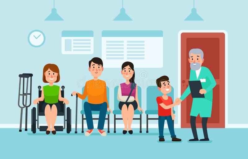 Doktor Waiting Room Patienter väntar doktorer och medicinsk hjälp på stolar i sjukhus Patient på den upptagna klinikkorridorvekto stock illustrationer