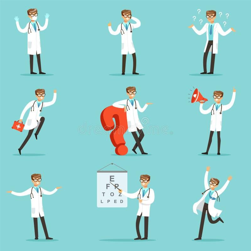 Doktor Work Process Collection av släkta platser för sjukhus med det unga tecknad filmteckenet för medicinsk arbetare royaltyfri illustrationer