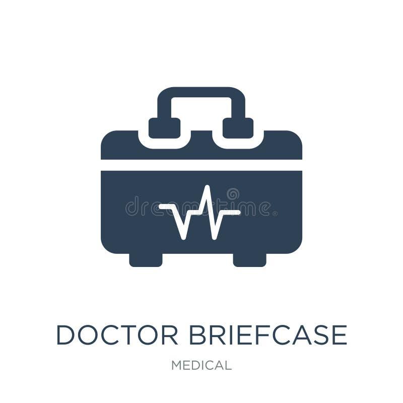 Doktoraktenkofferikone in der modischen Entwurfsart Doktoraktenkofferikone lokalisiert auf weißem Hintergrund Doktoraktenkoffer-V lizenzfreie abbildung
