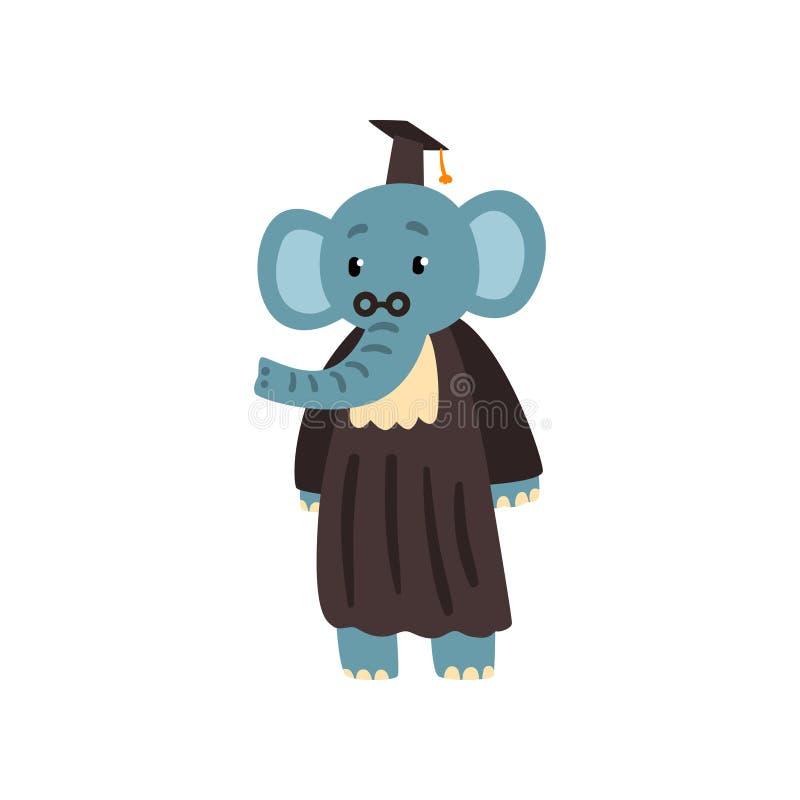 Doktorand- elefant i ansvar och lock, gulligt djurt tecknad filmtecken, skolutbildning och kunskapsbegreppsvektor royaltyfri illustrationer