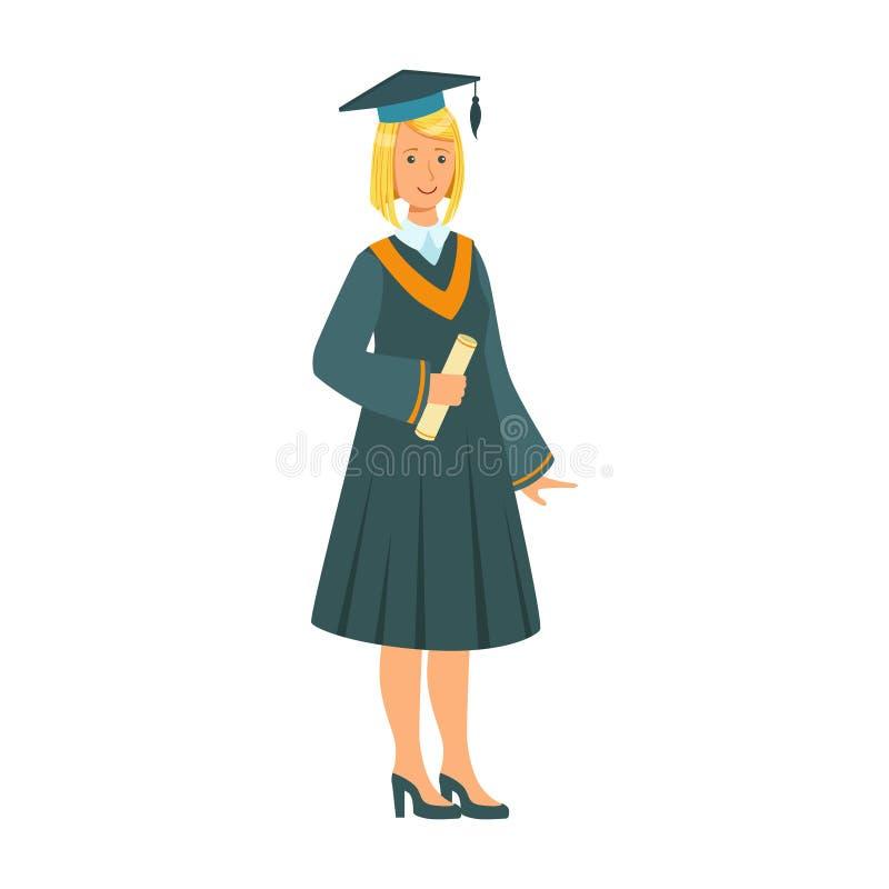 Doktorand- flicka i för avläggande av examendiplom för ansvar den hållande snirkeln Färgrik tecknad filmillustration stock illustrationer