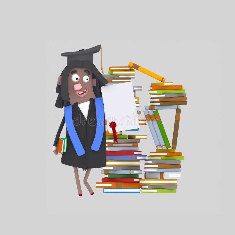 Doktorand- flicka med diplompapper framme av bokberget royaltyfri illustrationer
