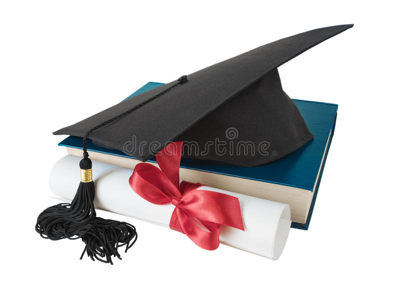 Doktorand- hatt, bok och snirkel arkivfoton